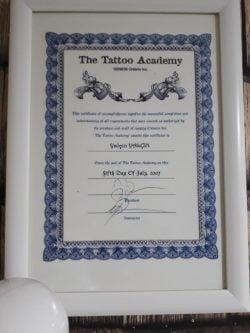 The Tattoo Academy Sertifikası